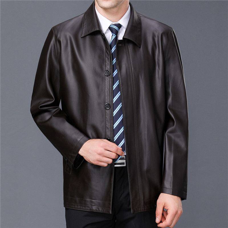 Spring and autumn new leisure Lapel leather jacket for mens jacket for the elderly