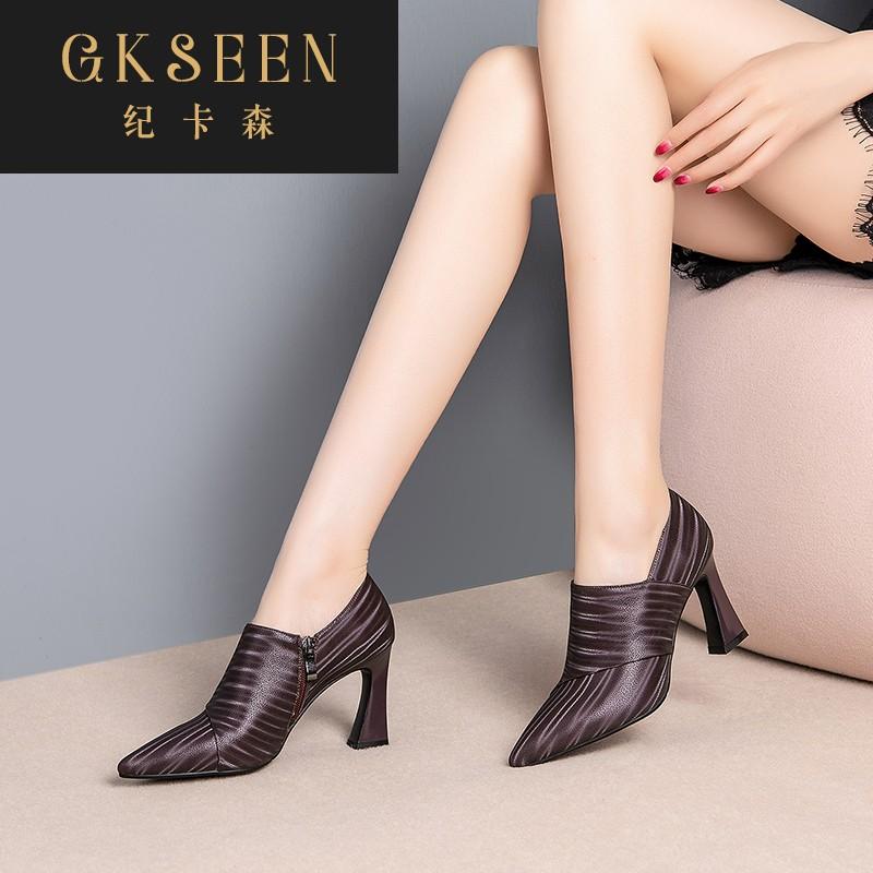 GKSEEN女2020秋季新款真皮鞋子踝靴拉链高跟鞋粗跟尖头女鞋XJ0815