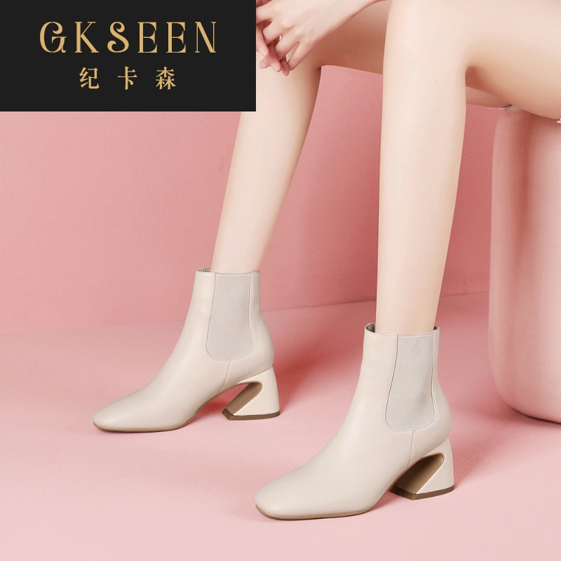 Gkseen boots childrens short boots square toe high heel pure leather Martin boots womens thick heels childrens autumn and winter versatile rf0913