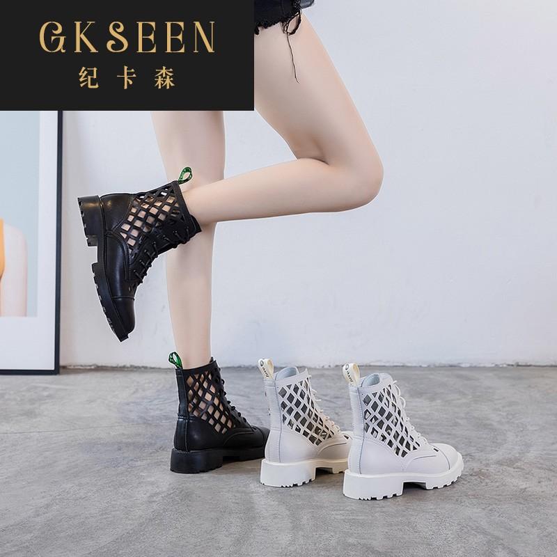 GKSEEN镂空粗跟厚底马丁靴女鞋子夏季2020英伦风洋气短靴潮XJ0705