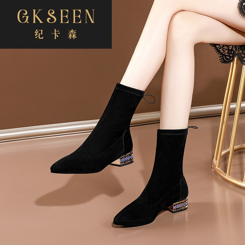 Gkseen water diamond low heel elastic boots medium flat heel thin boots pointed short boots womens large single boots rf0924