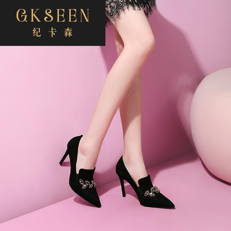 GKSEEN女2020秋新款高跟鞋百搭尖头磨砂细跟时装短靴及踝靴XJ0825
