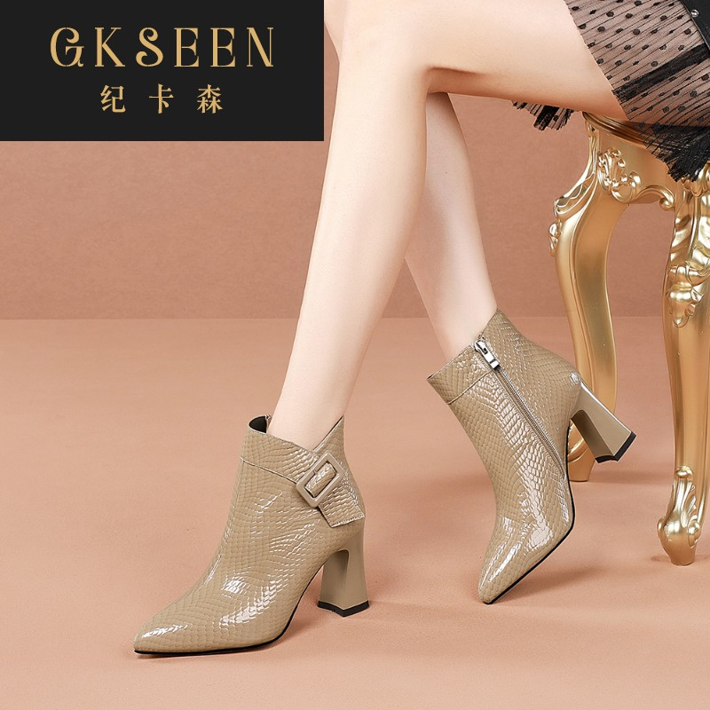 Gkseen Khaki thick heel short boots womens high heels womens boots patent leather Martin boots womens bag British style versatile rf0913