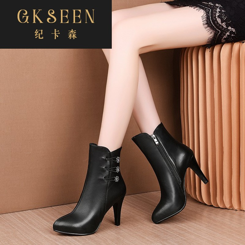 Gkseen shoes childrens autumn and winter wine glass heel high-heeled shoes black short boots grey Martin boots womens boots rf0913