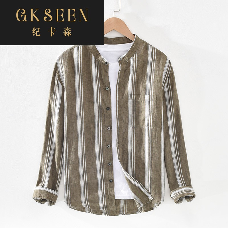 Gkseen mens yarn dyed linen long sleeve shirt Japanese Vintage crew neck stripe thin loose style rf0825