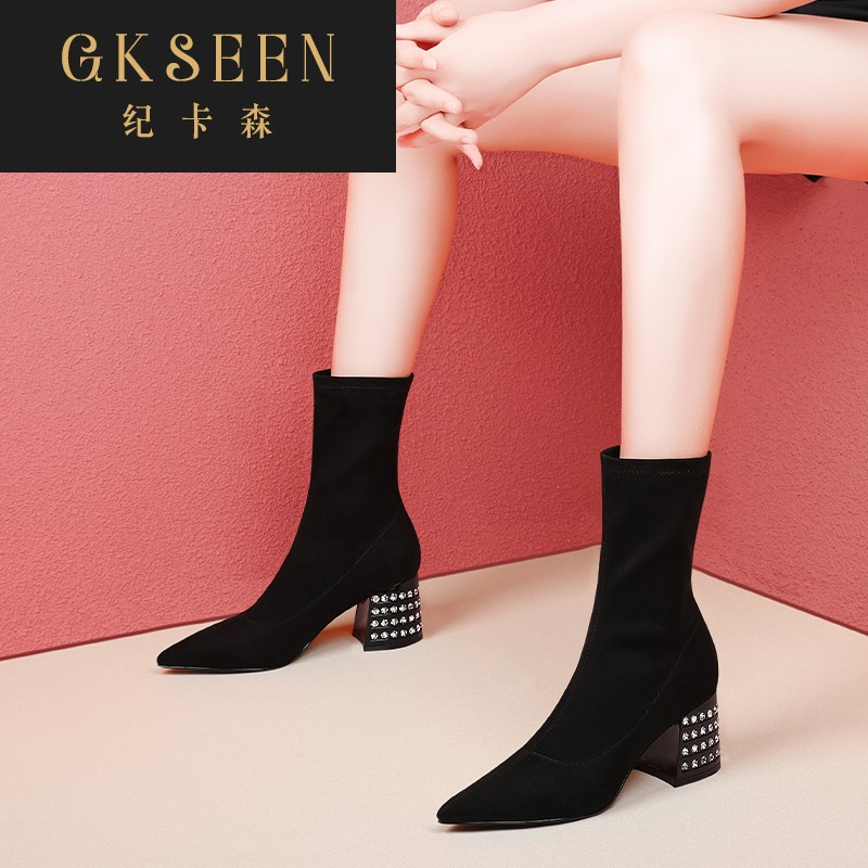Gkseen boots womens autumn new thick and short boots, thin and thin boots, high heel elastic boots, black middle sleeve rf0924