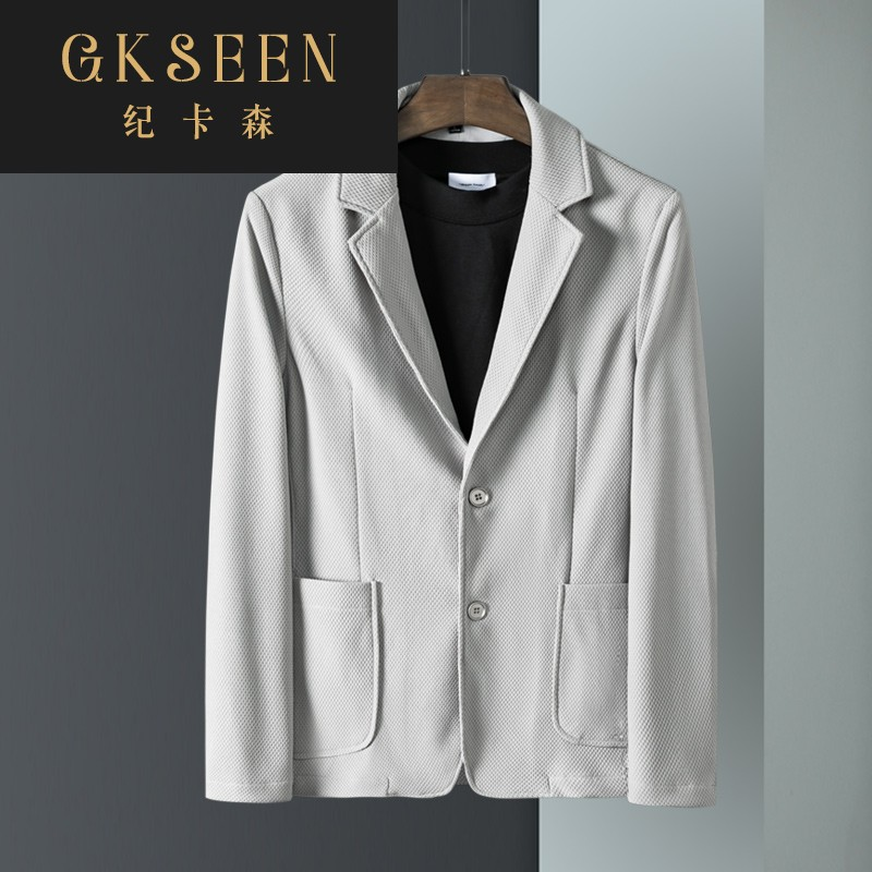 Gkseen casual suit mens Korean version handsome slim suit mens coat gray autumn mens wear rf0923