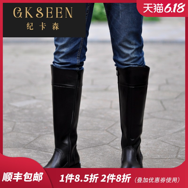 Gkseen new leather long riding boots mens leather Knight warm fur boots army Marty ChElSEY boots xj1211