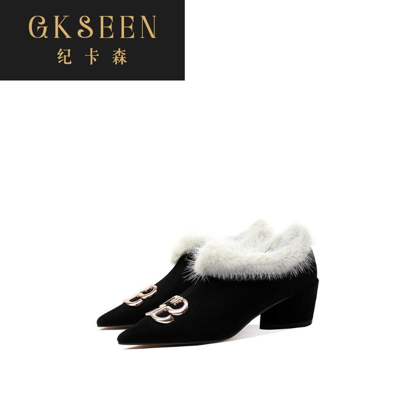 Gkseen thick heel boots childrens plush fur shoes deep mouth mink womens shoes leather pointed short boots medium heel rf0730