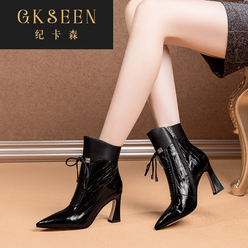 Gkseen short boots Korean leather thick heel patent leather Martin boots spring and autumn single womens shoes high heels rf0913