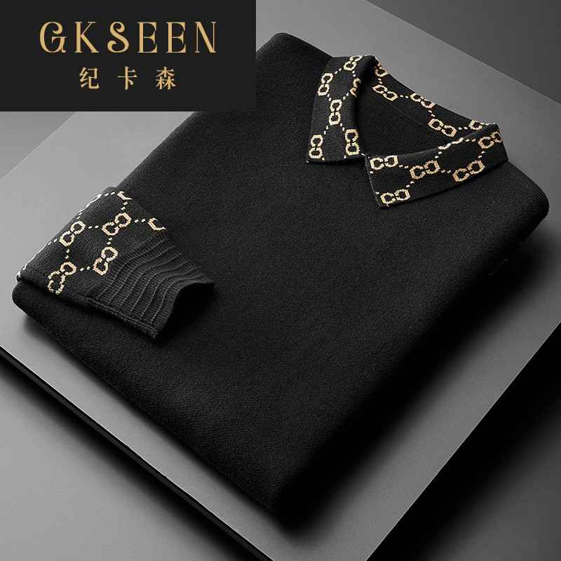 Gkseen sweater mens light luxury fashion versatile pattern mens top casual long sleeve knitted polo shirt rf0919