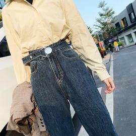 超高腰宽松萝卜牛仔裤女冬季新款网红老爹加绒加厚直筒宽松长裤潮