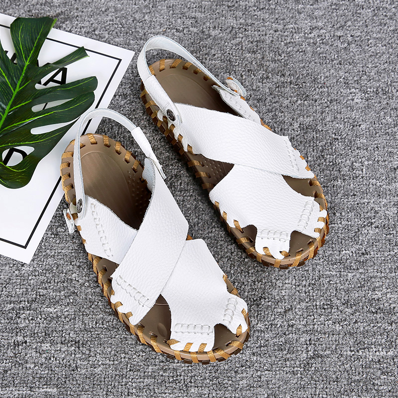 Genuine leather hand-made sandals fashion men go out cork sandals beach sandals spring and summer 2020 NEW