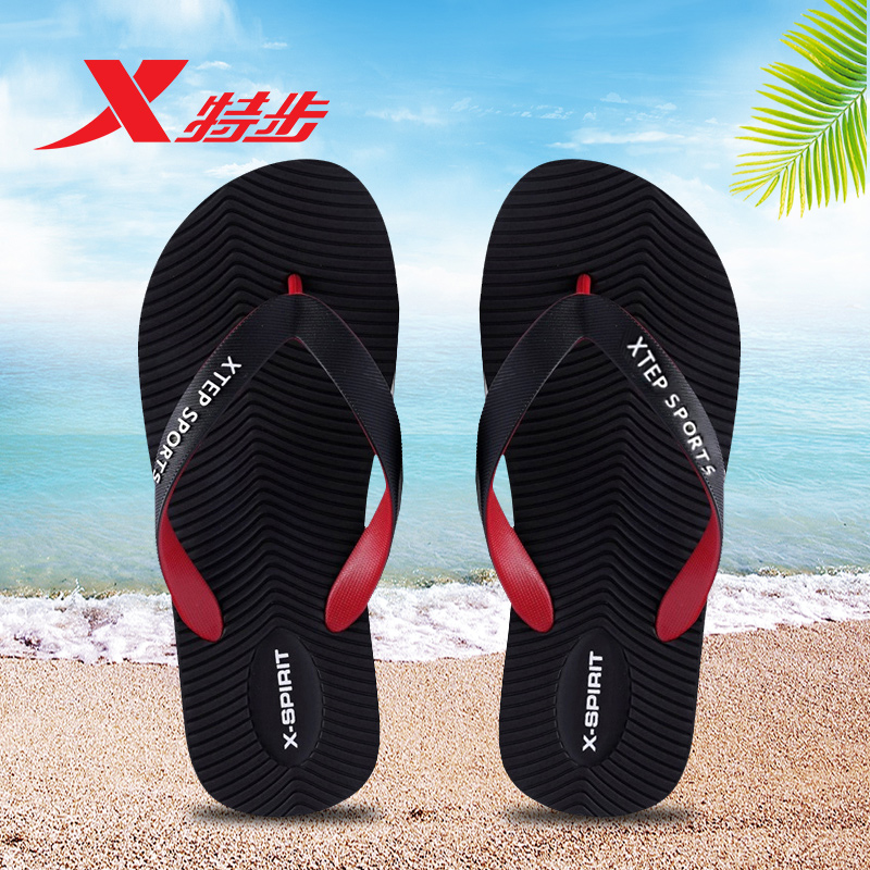 XTEP special slippers couple flip flops anti slip US mens swimming summer sports slippers