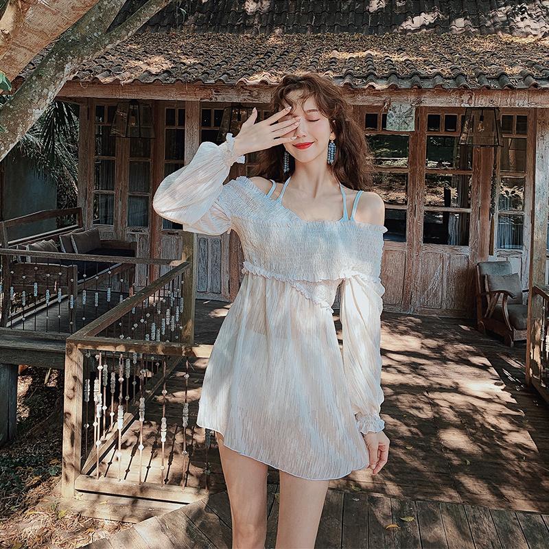 2020新款泳衣女仙女范遮肚显瘦三件套性感小胸聚拢温泉度假游泳装