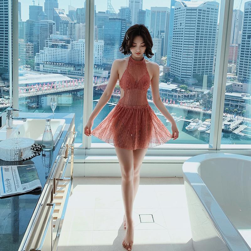 蕾丝女连体两件套性感韩国ins泳衣满139元可用15元优惠券