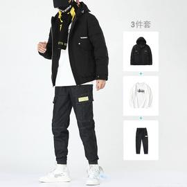 羽绒服男加厚外套2019冬季新款休闲套装一套搭配学生宽松冬季保暖
