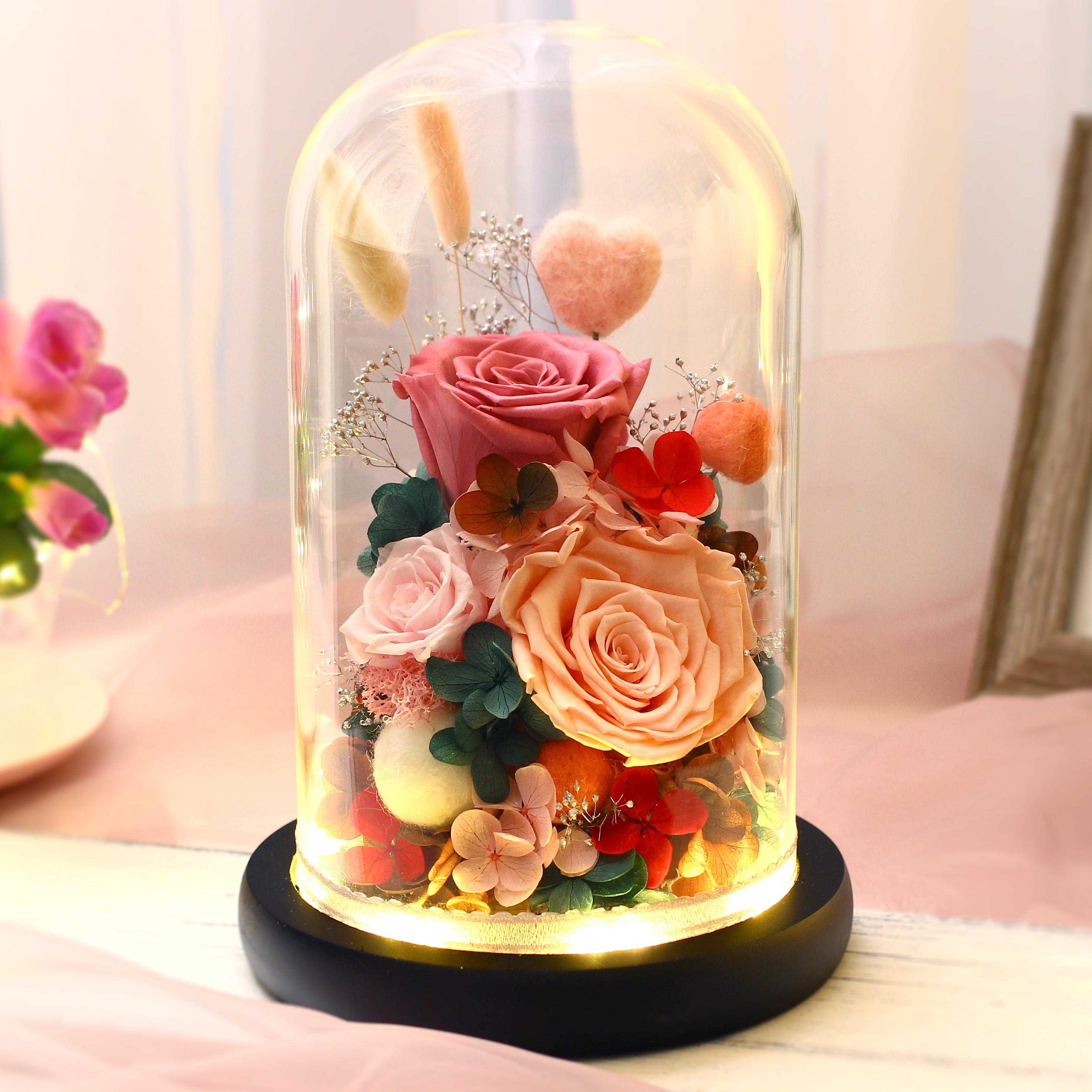 进口永生花玻璃罩礼盒摆件520情人节生日礼物康乃馨玫瑰保鲜干花