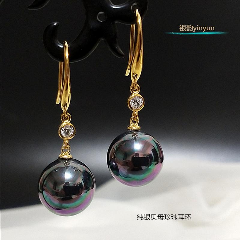 Sterling Silver Pearl Earrings Fashion temperament ear hook earrings 2020 new popular Fritillaria Pearl Earrings Ear Hook