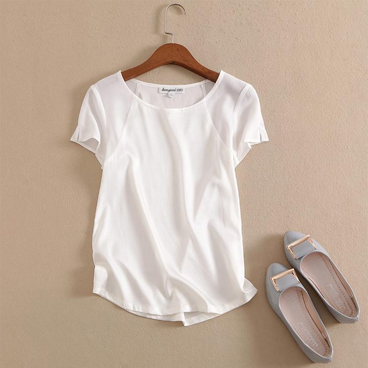 2021夏新款100重磅真丝上衣修身简约白色t恤女短袖桑蚕丝衬衫包邮