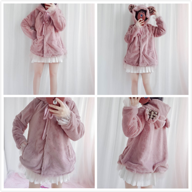 Lolita winter coat Lolita Japanese soft girl cute super cute plush ear coat