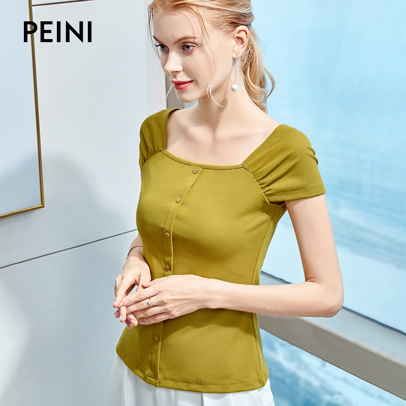 Pleated shoulder sleeve short sleeve T-shirt womens summer T-shirt single row button French retro exposed collarbone square collar womens top