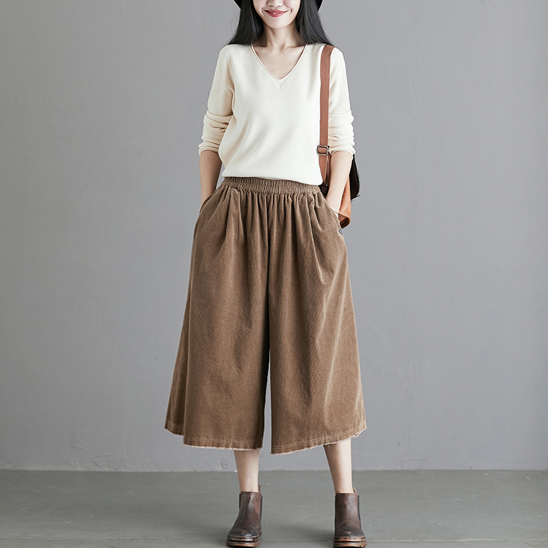 Corduroy wide leg pants womens spring and autumn new style thin loose velvet elastic straight tube vertical feeling 7 / 9 wide pants