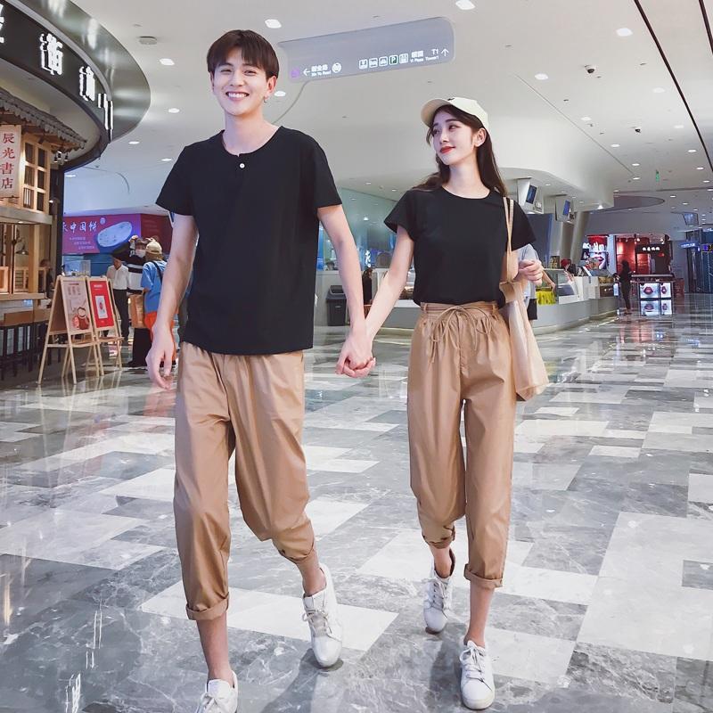 情侣装夏装套装2018新款情侣款短袖气质同色系不一样的韩版男女潮