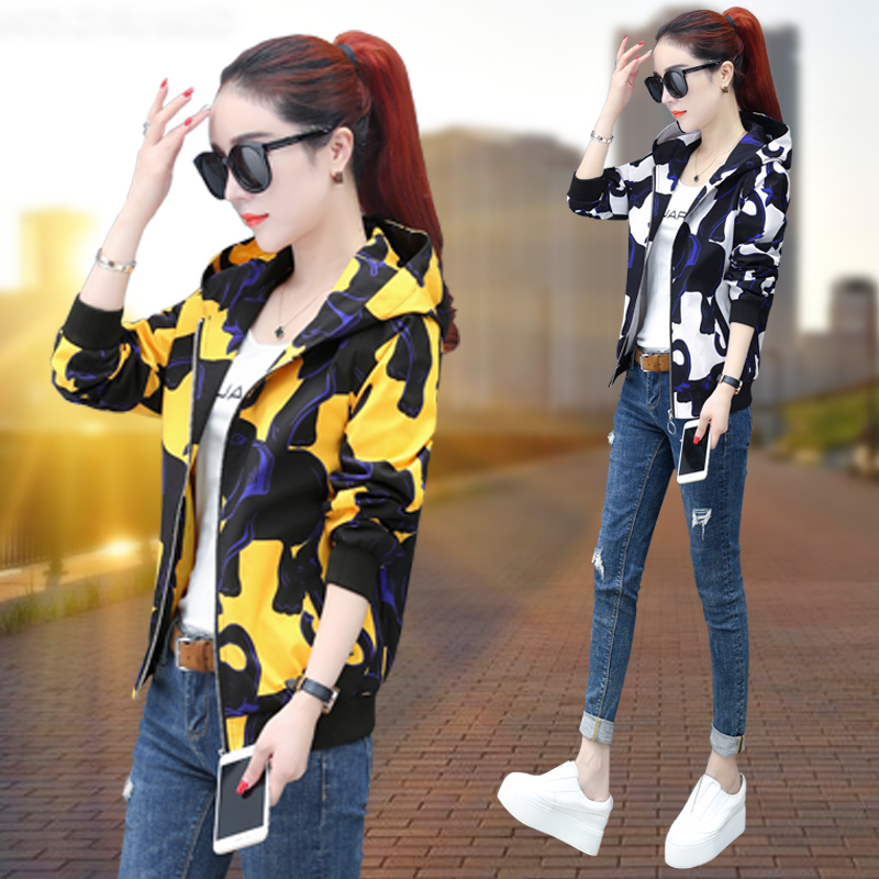 Short Jacket Womens Hoodie early autumn 2020 new spring and autumn printed jacket versatile loose camouflage Baseball Jacket