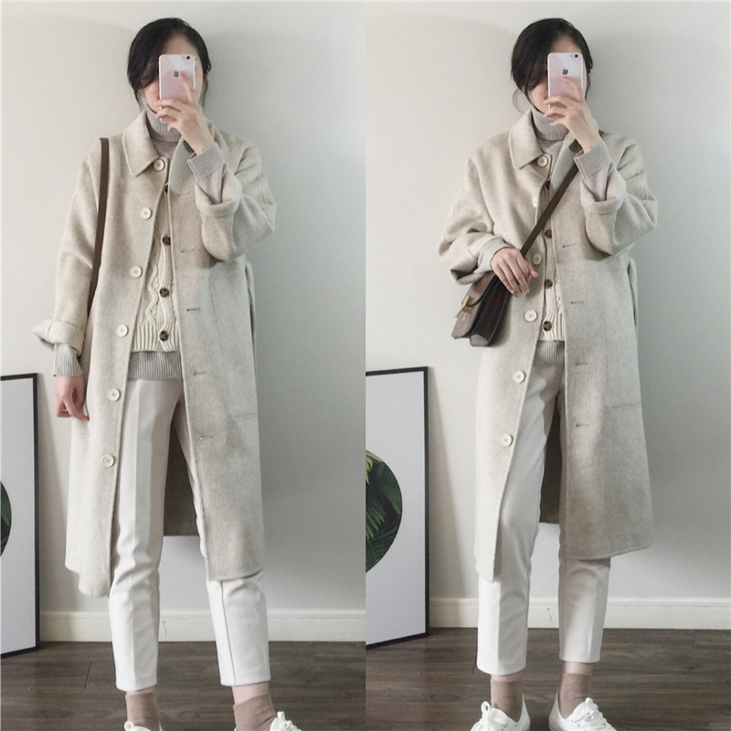East Gate New all Australian wool double side hand sewn cashmere coat straight tube loose long lace up woollen cloth coat