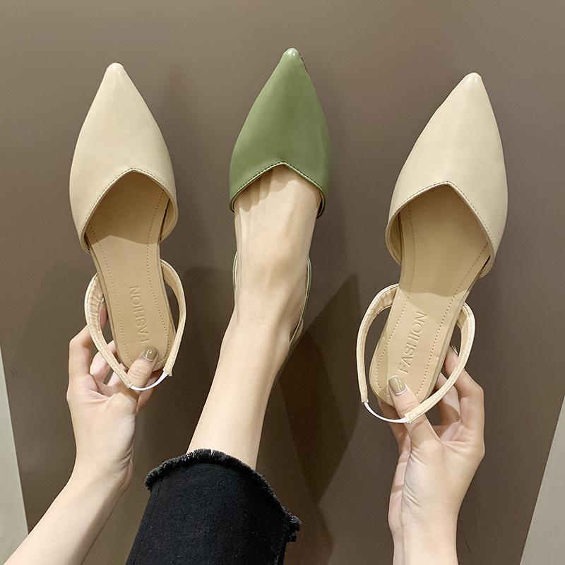 2019春夏新款韩版尖头包头凉鞋平底低跟后空单鞋女仙妇女风浅口鞋