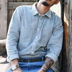 沾酱 CY-009衬衣 牛仔条纹衬衣 男士长袖纯棉 纯色休闲衬衫 复古