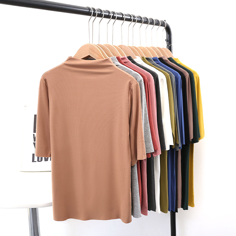 2020 summer new half high neck mid sleeve T-shirt for women loose stretch thin solid color thread bottomed top