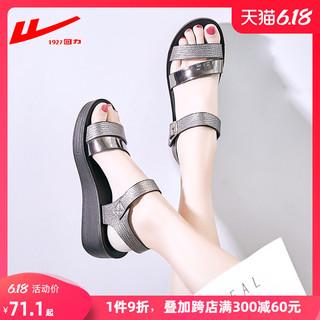 回力凉鞋女2020年夏季新款百搭粗跟时尚平底妈妈中跟软底时装女鞋