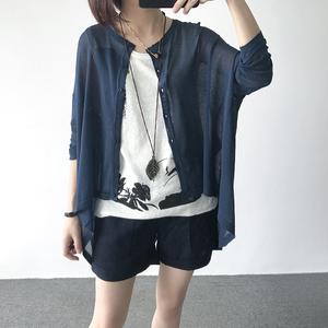 夏季宽松大码外套薄款亚麻外搭开衫女长袖防晒披肩针织空调衫外穿