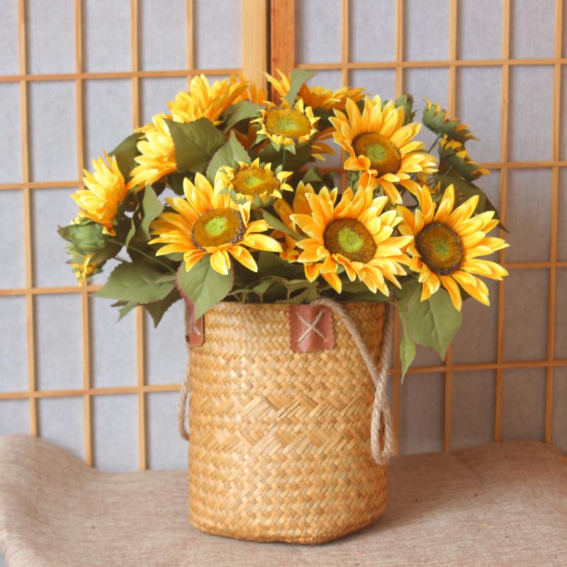 向日葵仿真花束花篮干花瓶家居客厅大号落地假花装饰品插花艺摆件