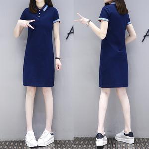 2020夏新款显瘦运动休闲短袖大码POLO衫领中长款T恤 保罗连衣裙女