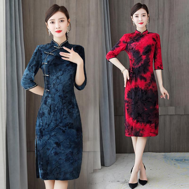 旗袍改良版连衣裙女植绒扎染复古修身礼服中国风新款中式旗袍裙