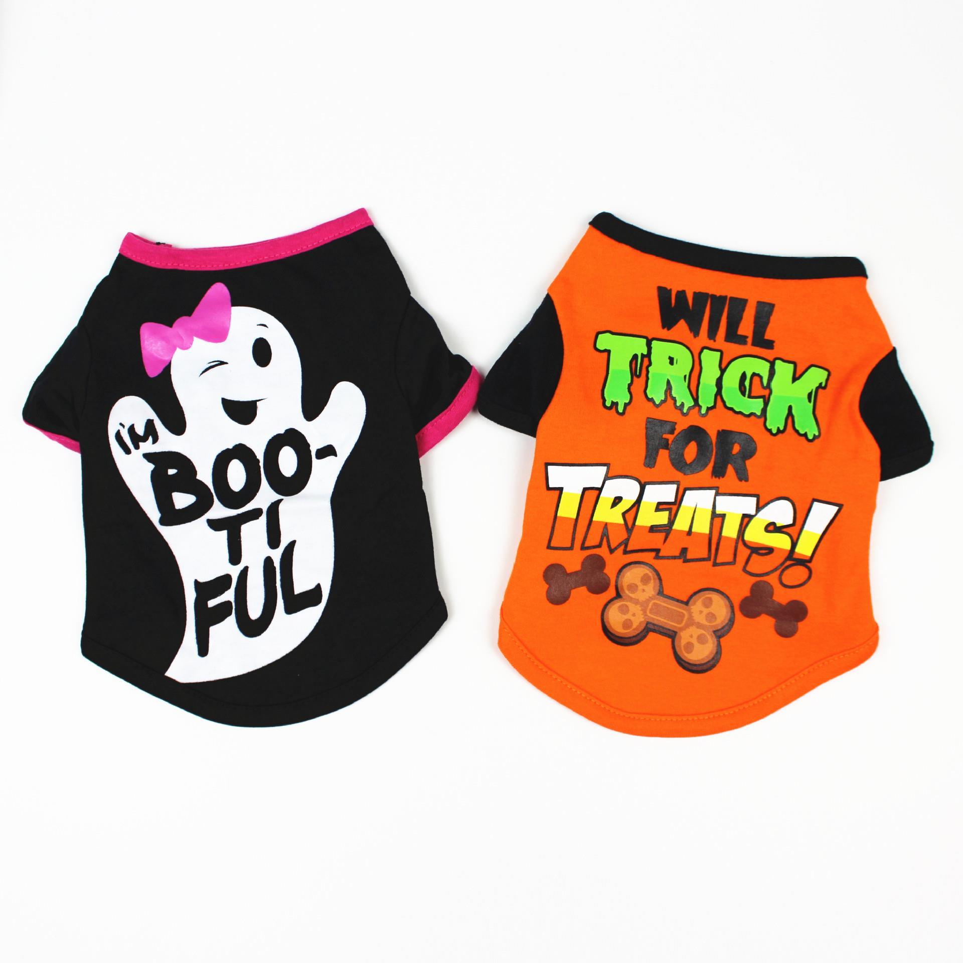 狗狗春夏装卡通印花T恤泰迪比熊宠物服饰 宠物万圣节