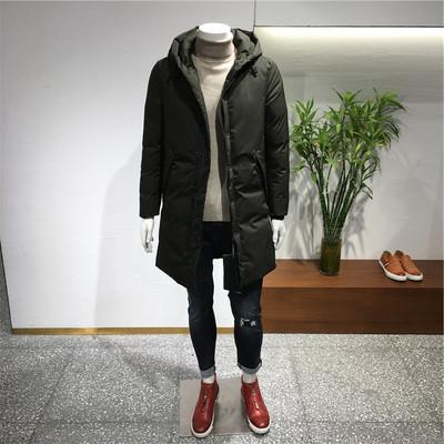 洺之家 2017冬季新款个性连帽中长3色款棉衣外套 6055
