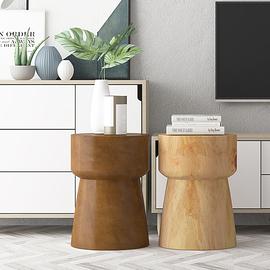 实木原木圆凳子树桩木桩凳花架树墩木头边几茶几简约北欧小木墩子