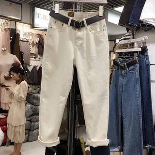 2020新款大码女装春装胖妹妹牛仔裤女宽松哈伦裤bf休闲直筒裤子女