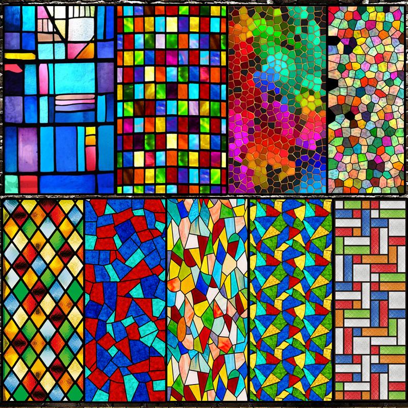 欧式复古教堂彩色玻璃贴纸透光不透明静电磨砂玻璃贴膜窗花贴纸