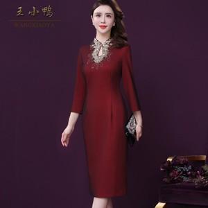 王小鸭法式秋装品牌女2021新款阔太太裙子亮片绣洋气婚宴妈妈礼服