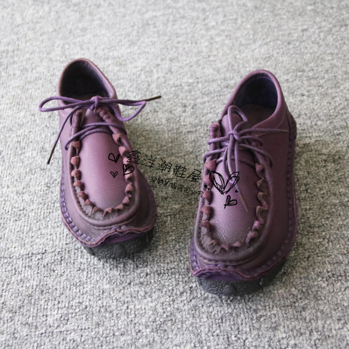 Spring and autumn new Lishifa 582 retro pure hand sewn cow leather Oxford super soft sole leather womens single shoes