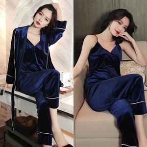 冬性感睡衣女吊带胸垫金丝绒睡裙情趣家居服睡袍三件套装春秋长袖
