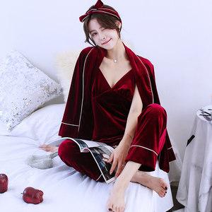 秋冬季长袖金丝绒睡衣女性感睡裙家居服韩国绒睡袍三件套可外穿春