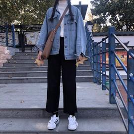 宽松直筒裤春秋季休闲大码工装学生cec西装裤女小脚九分裤哈伦裤图片