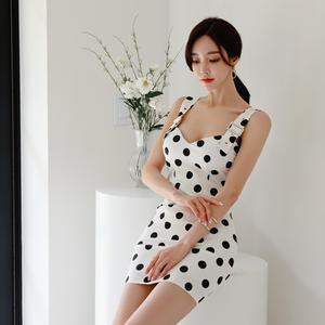 YF52360# 韩版气质夏季显瘦背带波点修身包臀连衣裙 服装批发女装直播货源