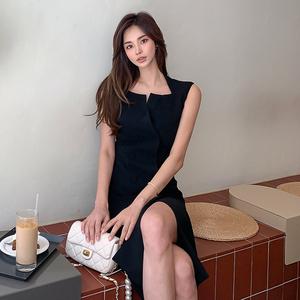 YF39603# 韩版轻熟冷艳优雅气质设计感裹身包臀简约制服式连衣裙 服装批发女装直播货源